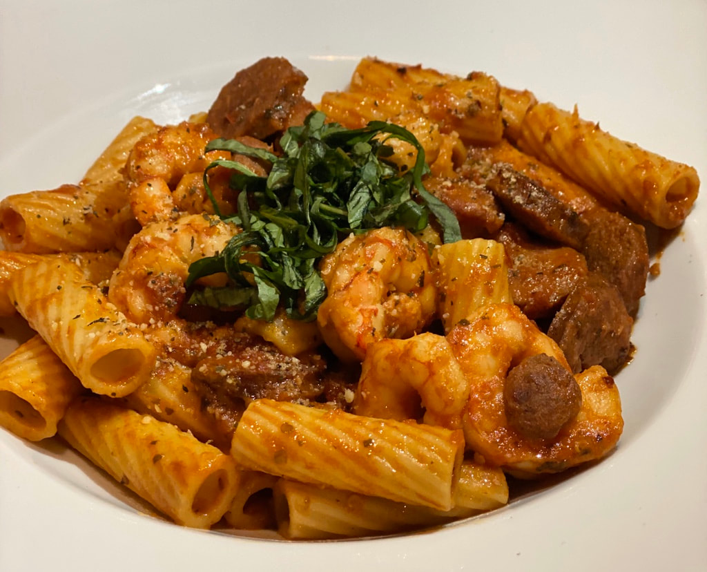 Sausge and Shrimp Rigatoni
